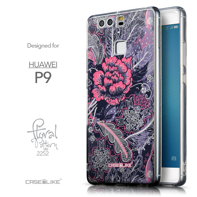 Front & Side View - CASEiLIKE Huawei P9 back cover Vintage Roses and Feathers Blue 2252