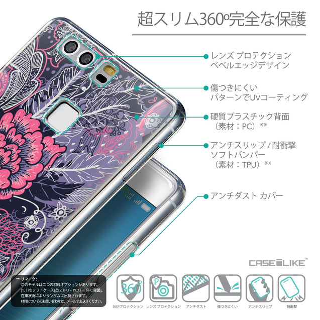 Details in Japanese - CASEiLIKE Huawei P9 back cover Vintage Roses and Feathers Blue 2252