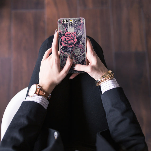 Share - CASEiLIKE Huawei P9 back cover Vintage Roses and Feathers Blue 2252