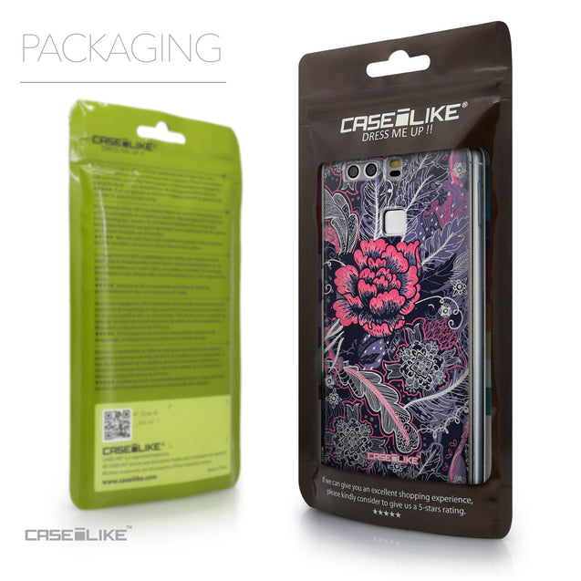 Packaging - CASEiLIKE Huawei P9 back cover Vintage Roses and Feathers Blue 2252