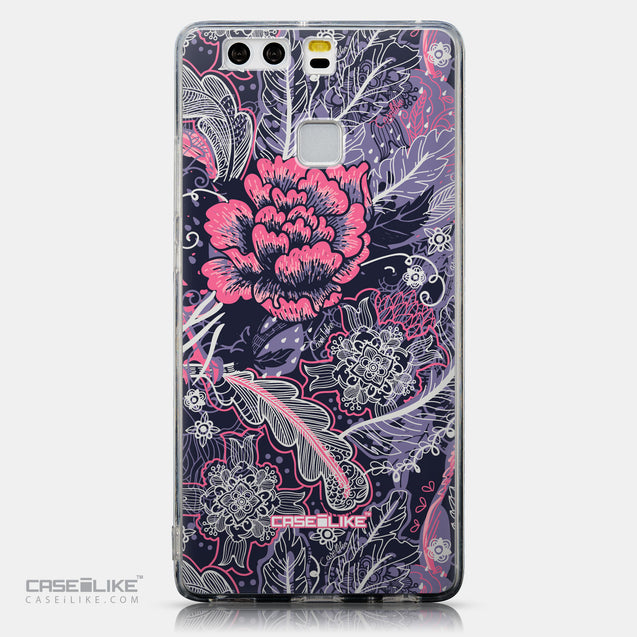 CASEiLIKE Huawei P9 back cover Vintage Roses and Feathers Blue 2252