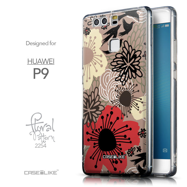 Front & Side View - CASEiLIKE Huawei P9 back cover Japanese Floral 2254