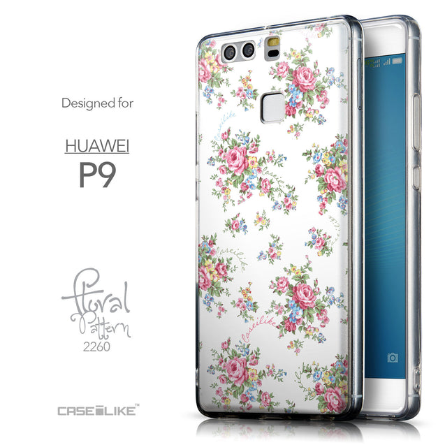 Front & Side View - CASEiLIKE Huawei P9 back cover Floral Rose Classic 2260