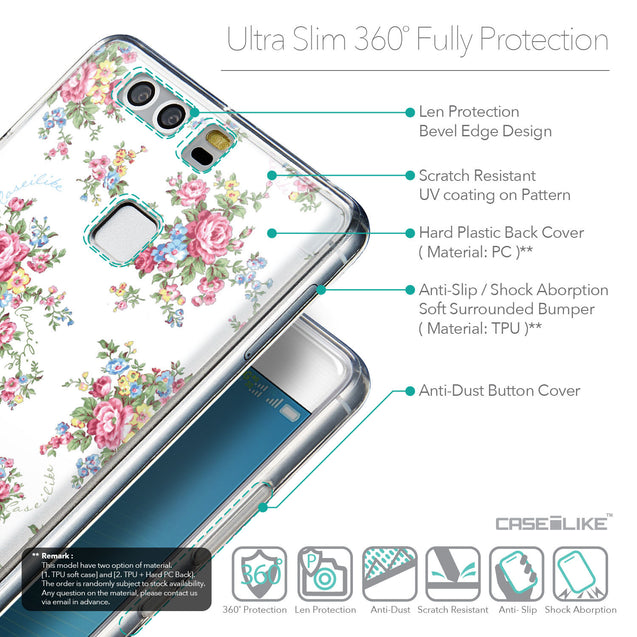 Details in English - CASEiLIKE Huawei P9 back cover Floral Rose Classic 2260