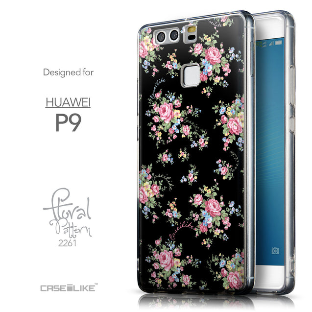 Front & Side View - CASEiLIKE Huawei P9 back cover Floral Rose Classic 2261