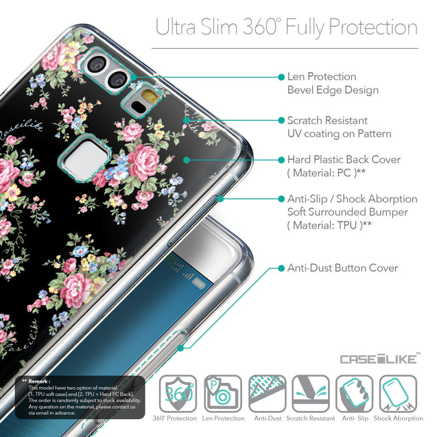 Details in English - CASEiLIKE Huawei P9 back cover Floral Rose Classic 2261