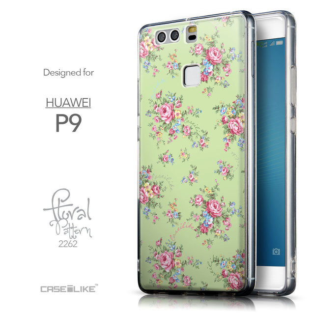 Front & Side View - CASEiLIKE Huawei P9 back cover Floral Rose Classic 2262