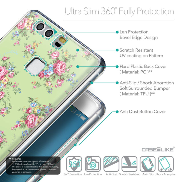 Details in English - CASEiLIKE Huawei P9 back cover Floral Rose Classic 2262
