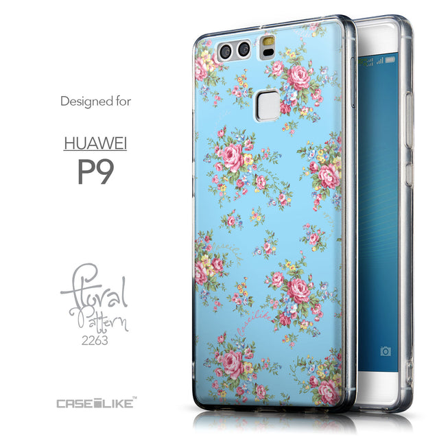 Front & Side View - CASEiLIKE Huawei P9 back cover Floral Rose Classic 2263