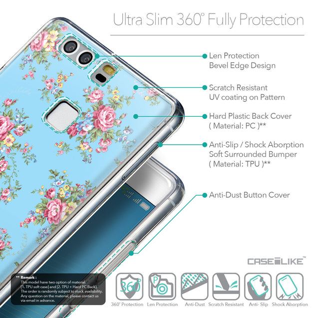 Details in English - CASEiLIKE Huawei P9 back cover Floral Rose Classic 2263