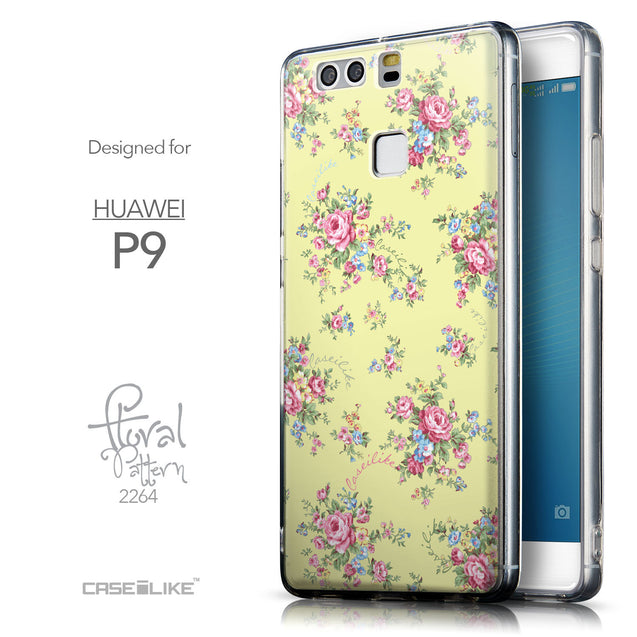 Front & Side View - CASEiLIKE Huawei P9 back cover Floral Rose Classic 2264