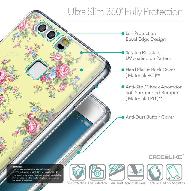 Details in English - CASEiLIKE Huawei P9 back cover Floral Rose Classic 2264