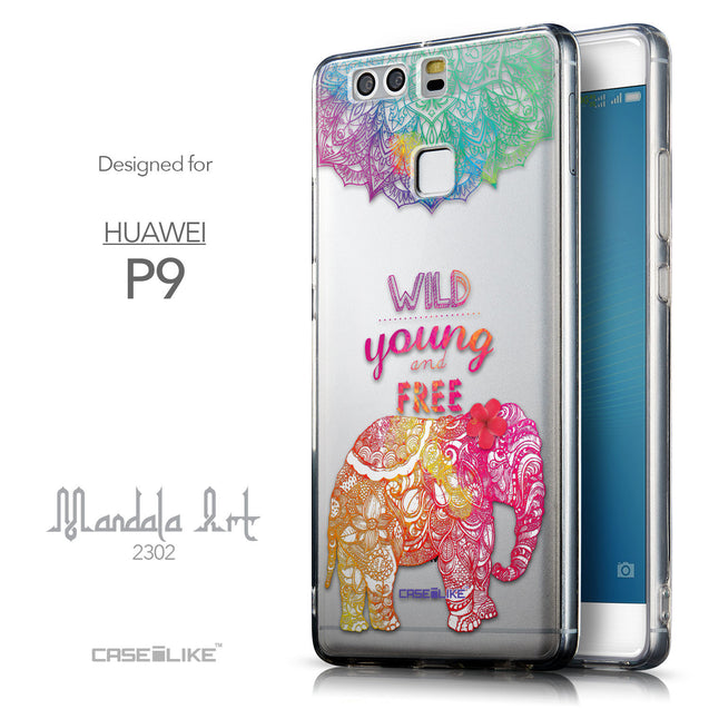 Front & Side View - CASEiLIKE Huawei P9 back cover Mandala Art 2302