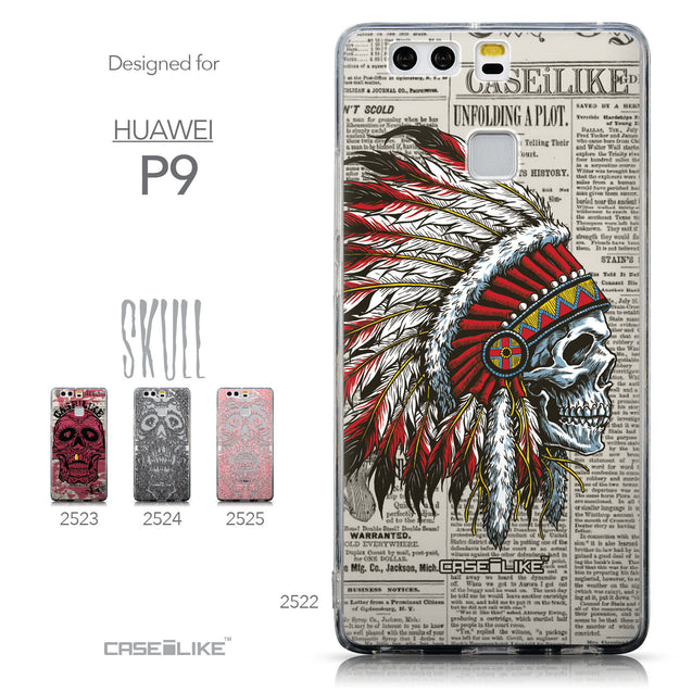 Collection - CASEiLIKE Huawei P9 back cover Art of Skull 2522