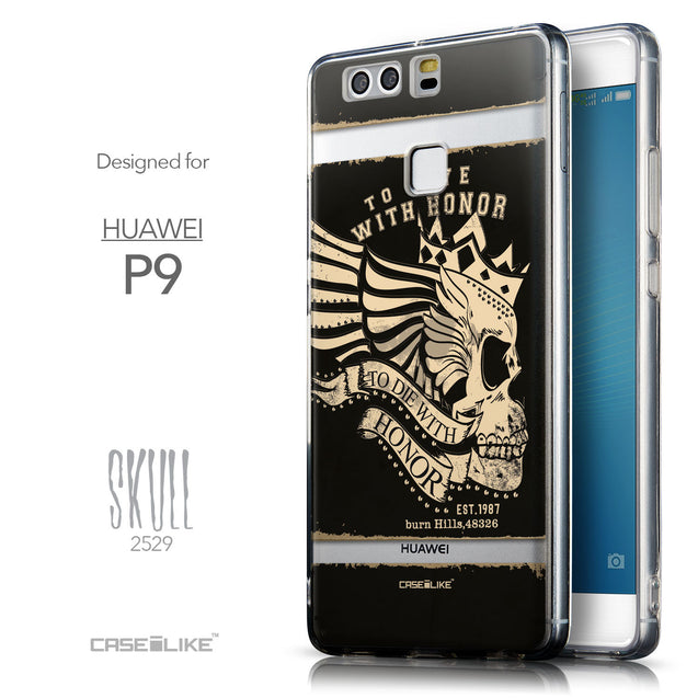 Front & Side View - CASEiLIKE Huawei P9 back cover Art of Skull 2529