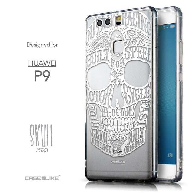 Front & Side View - CASEiLIKE Huawei P9 back cover Art of Skull 2530
