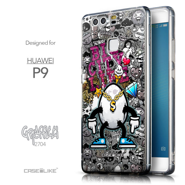 Front & Side View - CASEiLIKE Huawei P9 back cover Graffiti 2704