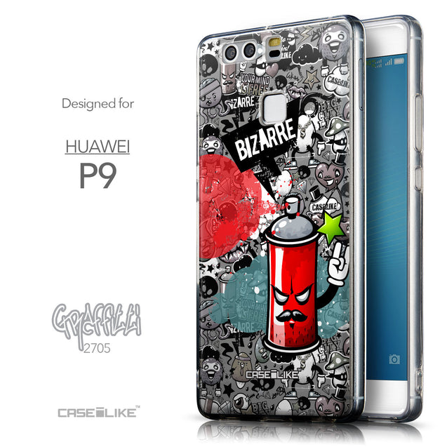 Front & Side View - CASEiLIKE Huawei P9 back cover Graffiti 2705