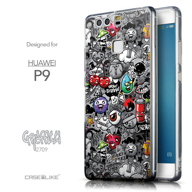 Front & Side View - CASEiLIKE Huawei P9 back cover Graffiti 2709