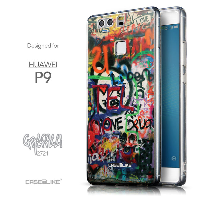 Front & Side View - CASEiLIKE Huawei P9 back cover Graffiti 2721