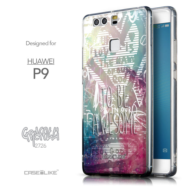 Front & Side View - CASEiLIKE Huawei P9 back cover Graffiti 2726