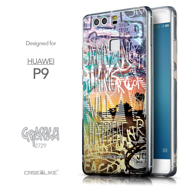 Front & Side View - CASEiLIKE Huawei P9 back cover Graffiti 2729