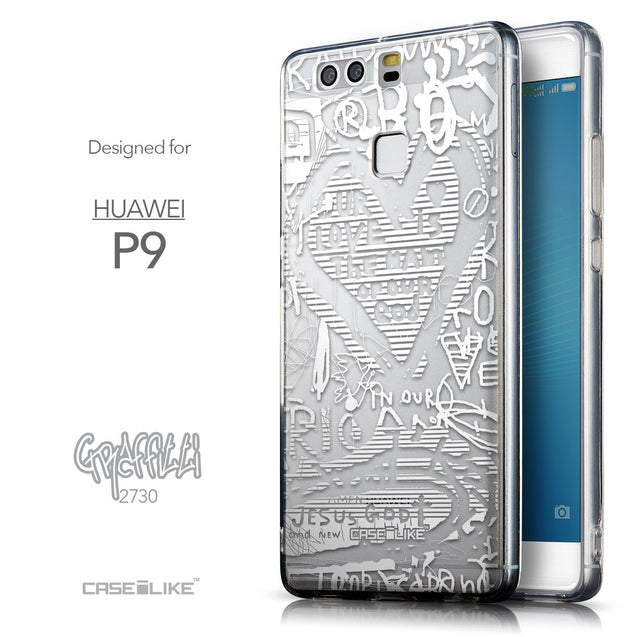 Front & Side View - CASEiLIKE Huawei P9 back cover Graffiti 2730