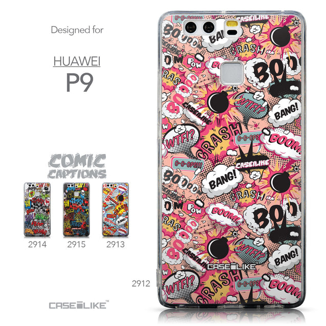 Collection - CASEiLIKE Huawei P9 back cover Comic Captions Pink 2912