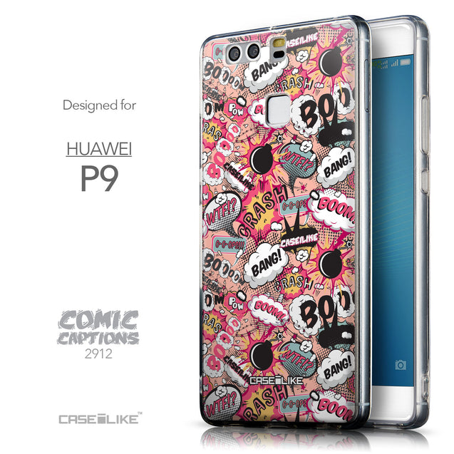 Front & Side View - CASEiLIKE Huawei P9 back cover Comic Captions Pink 2912