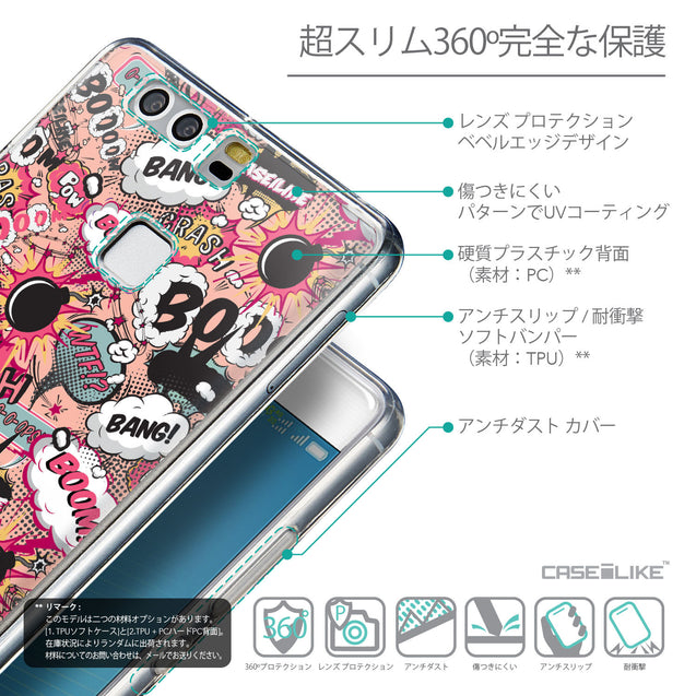 Details in Japanese - CASEiLIKE Huawei P9 back cover Comic Captions Pink 2912