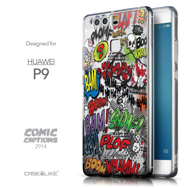 Front & Side View - CASEiLIKE Huawei P9 back cover Comic Captions 2914