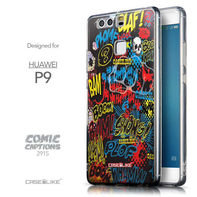 Front & Side View - CASEiLIKE Huawei P9 back cover Comic Captions Black 2915