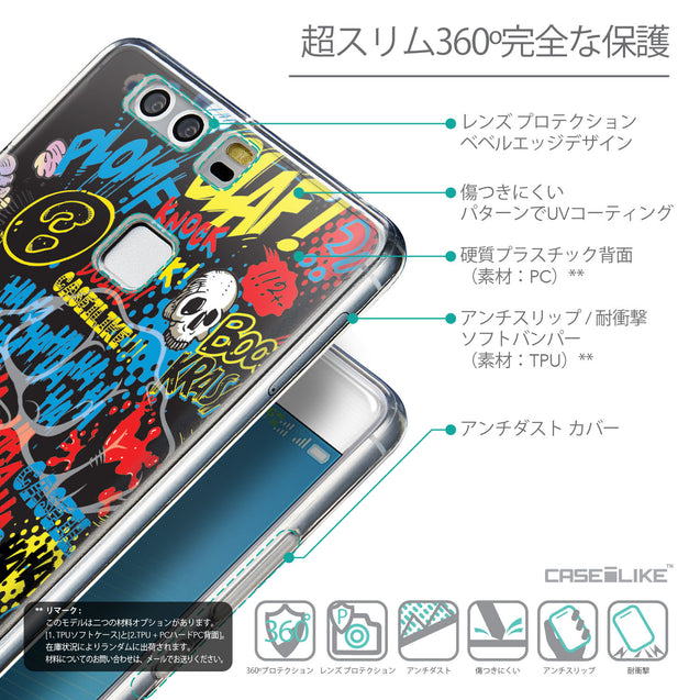 Details in Japanese - CASEiLIKE Huawei P9 back cover Comic Captions Black 2915