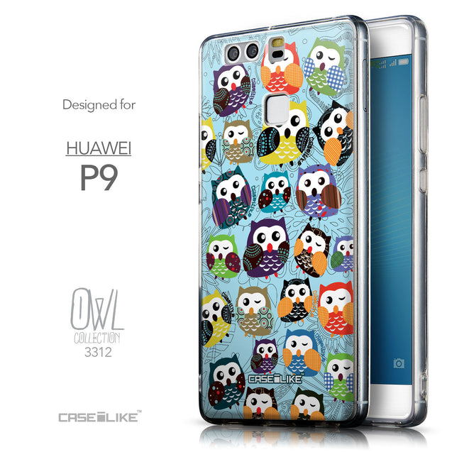 Front & Side View - CASEiLIKE Huawei P9 back cover Owl Graphic Design 3312