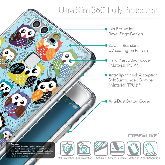 Details in English - CASEiLIKE Huawei P9 back cover Owl Graphic Design 3312