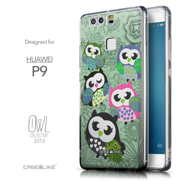 Front & Side View - CASEiLIKE Huawei P9 back cover Owl Graphic Design 3313