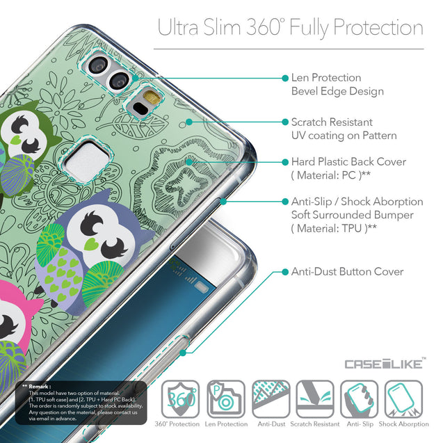Details in English - CASEiLIKE Huawei P9 back cover Owl Graphic Design 3313