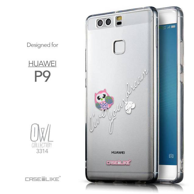 Front & Side View - CASEiLIKE Huawei P9 back cover Owl Graphic Design 3314