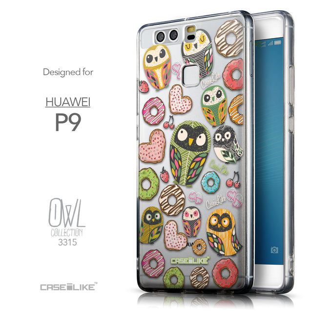 Front & Side View - CASEiLIKE Huawei P9 back cover Owl Graphic Design 3315