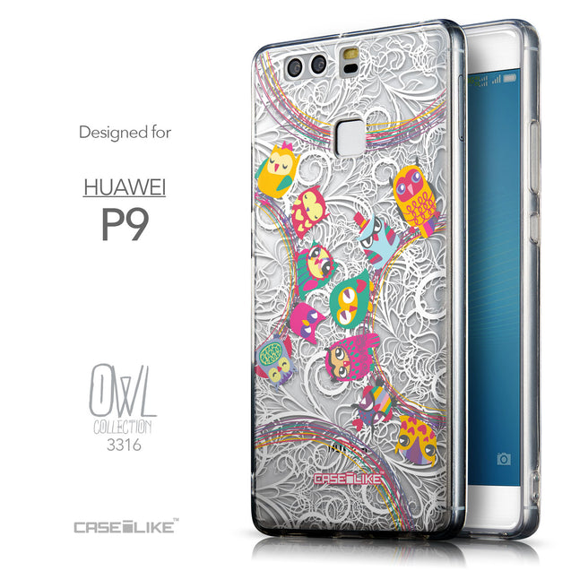 Front & Side View - CASEiLIKE Huawei P9 back cover Owl Graphic Design 3316