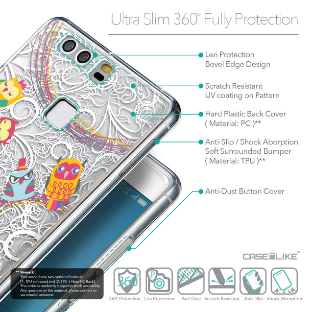 Details in English - CASEiLIKE Huawei P9 back cover Owl Graphic Design 3316