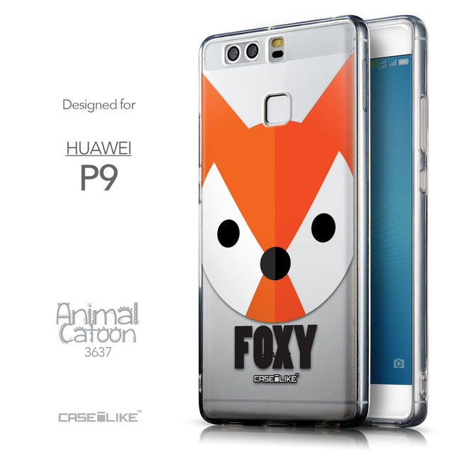 Front & Side View - CASEiLIKE Huawei P9 back cover Animal Cartoon 3637