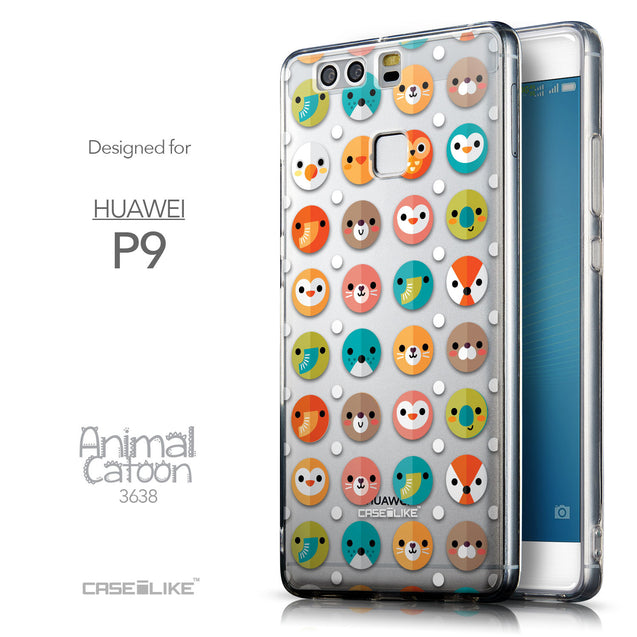 Front & Side View - CASEiLIKE Huawei P9 back cover Animal Cartoon 3638