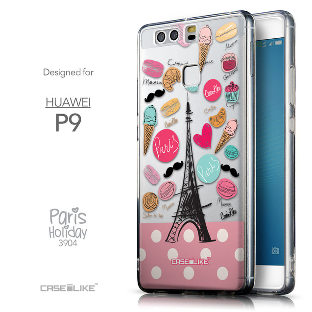 Front & Side View - CASEiLIKE Huawei P9 back cover Paris Holiday 3904