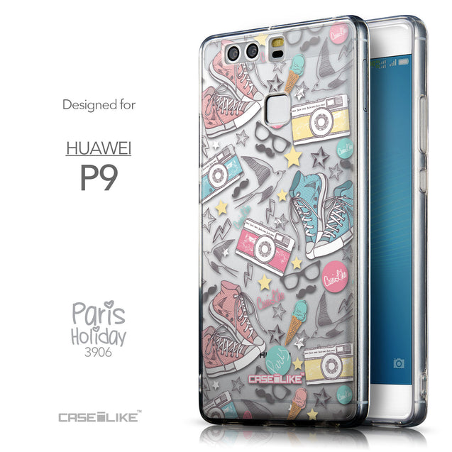 Front & Side View - CASEiLIKE Huawei P9 back cover Paris Holiday 3906