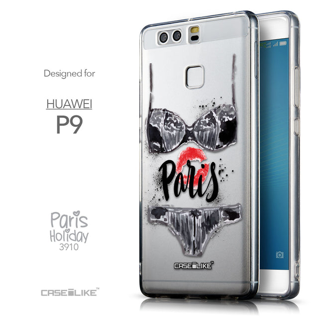 Front & Side View - CASEiLIKE Huawei P9 back cover Paris Holiday 3910