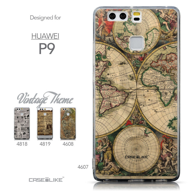 Collection - CASEiLIKE Huawei P9 back cover World Map Vintage 4607