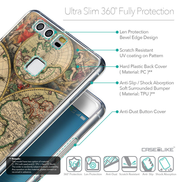 Details in English - CASEiLIKE Huawei P9 back cover World Map Vintage 4607