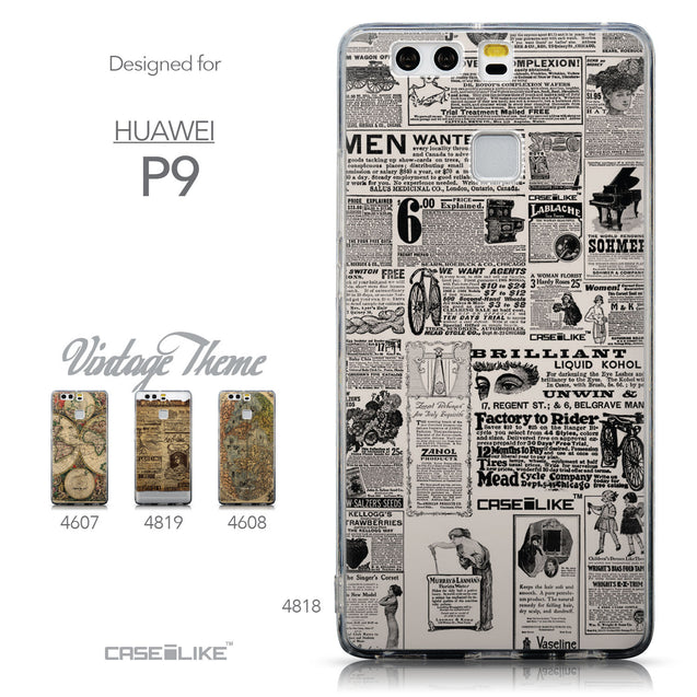 Collection - CASEiLIKE Huawei P9 back cover Vintage Newspaper Advertising 4818