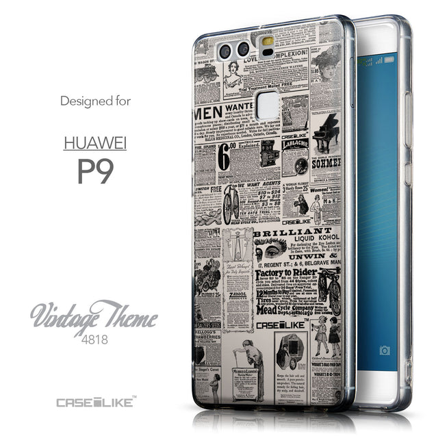 Front & Side View - CASEiLIKE Huawei P9 back cover Vintage Newspaper Advertising 4818